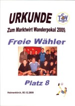 Urkunde Dorfturnier 2009
